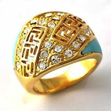 Yellow Gold Filled Clear Gemstone /Turquoise Womens vintage Ring  Size 7 8