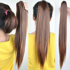 New Girl's Hairpiece Long Straight Claw Clip Ponytail Hair Extensions