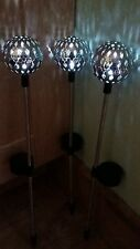 3 x Silver Moroccan Ball Solar Powered Stake LED Garden Lights/Bright White