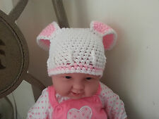 New Handmade Crocheted Pink Girl Baby Easter Bunny Hat Photo Prop Hat All Sizes