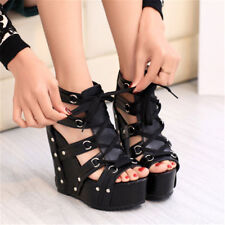 Sexy Womens Punk Roman Peep Toe Sandals Wedge Heels Strap Lace Up Shoes Size NEW