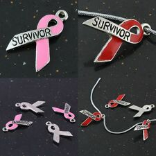 "Enamel Pink Red Ribbon ""SURVIVOR"" Charms Beads Breast Cancer AIDS HIV Awareness"