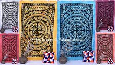 Indian Cotton Elephant Mandala Twin Size Bedspread Ethnix Tapestry Bedcover Dorm