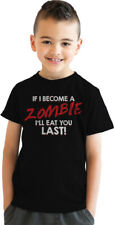 Youth If I Become a Zombie I'll Eat You Last Funny Zombie Fan T shirt (Black)