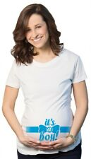 Maternity It's a Boy Blue Bow Announcement Tee Pregnancy T shirt (White)