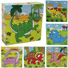 9pcs Wooden Jigsaw Puzzle Building Block Brick Educational Toy Animal Dinosaur
