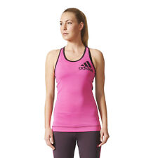 Adidas Techfit Logo Womens Pink Climalite Running Sports Vest Tank Top