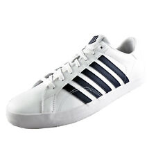 K Swiss Mens White Navy Belmont Classic Leather Casual Retro Trainers