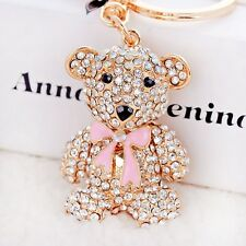 New cute bear rhinestone crystal key chain fashion Purse Messenger charm pendant