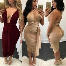 Sexy Cross Open Back Plunge V Neck Bodycon Rushed Pencil Midi Sheath Party Dress