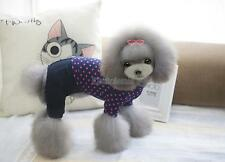 100% Cotton Pet Dog Clothes Puppy Cat Thin Knit Jumpsuit Rose Red Dots Apparel
