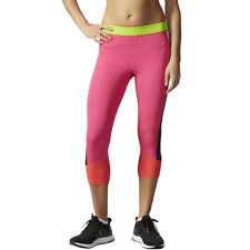 Adidas Techfit Womens Pink Climalite Capri Running Fitness Tights Bottoms