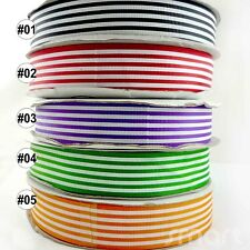 "1"" 25mm Multi-colors Lines Spring Grosgrain RIBBON 5Yards Craft Sewing U pick"