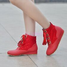 Womens High Top Low Wedge Heel Sneaker Ankle Boots Autumn Winter Lace Shoes 4-10