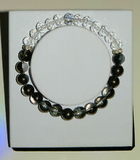 CLEAR CRYSTAL GLASS BRACELET WITH METALLIC BLACK ROCK CRYSTAL GEMSTONE BEADS