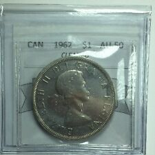 1962 Canadian Silver Dollar Coin Mart Graded AU-50 Cleaned