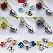 Pair Stainless Steel 6mm 8mm Czech Crystal Pave Disco Ball Bead Ear Stud Earring