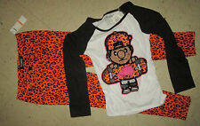 TRUKFIT Girls Glitter Skater Ruch Blouse & Animal Print Jeans Pants Outfit Set