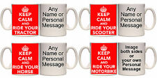 KEEP CALM AND RIDE YOUR PERSONALISED MUG AND COASTER (V7) HORSE BIKE TRACTOR ETC
