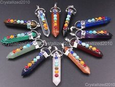 Natural Gemstones Hexagonal Pointed Colorful Pendant Beads 18K Chain Necklace