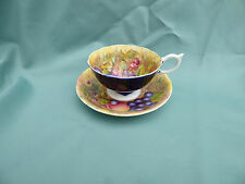 Aynsley China Cabinet Cup & Saucer, Signed D Jones. Orchard Gold, Porcelain