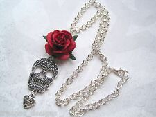 BIG SKULL HEART ROSE NECKLACE Silver Plated Gothic Halloween RED BLACK PURPLE