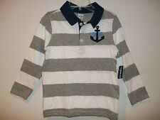 "OLD NAVY STRIPED LONG SLEEVE POLO SHIRT TOP  ""ANCHOR""  (Navy/Gray/White)"