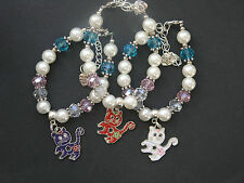 Cat charm bracelet with glass & acrylic beads - various colours - party bag