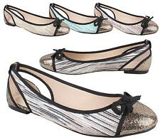 NEW WOMENS FLAT BALLET PUMPS GLITTER TOE CAP BOW SLIP ON WALKING DOLLY SHOES 3-8