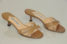 $1625 New Manolo Blahnik CALLAMU Beige ALLIGATOR CROCODILE Sandals Shoes 37