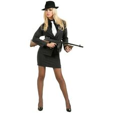 Gangster Moll Costume 20s Mobster Mafia Bonnie & Clyde Halloween Fancy Dress
