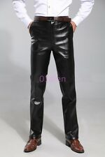 Mens Loose Pant Fleece Lining Faux Leather Waterproof Chic Driving Trouser 30-48