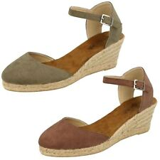 LADIES SPOT ON CLOSED TOE WEDGE HEEL BUCKLE ANKLE STRAP SANDALS SHOES F2255