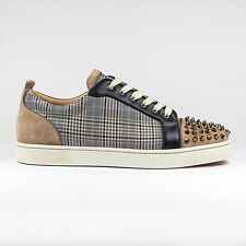 Auth BNIB Christian Louboutin Louis Junior Spikes Suede GREGE Sneakers
