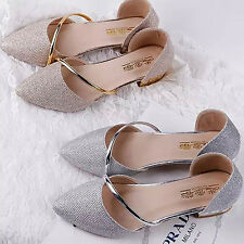 Women Fashion Sequined Point Toe Flat Shoes Summer Metalic Strap Pump Sandals