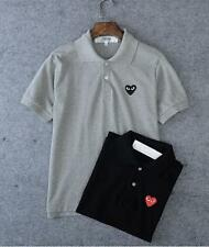 New Men's Comme Des Garcons CDG Play Polo Neck Heart Short Sleeve T-shirts 4sz