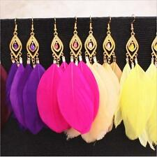 Fashion Boho Bohemia Colourful Feather Long Gold Eardrop Dangle Lady Earrings SM