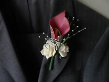 6 Pink Calla Lily Rose Buttonholes Wedding Flowers Artificial