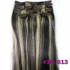 200g Clip In 100%Real Human Hair Extensions1B/613 16''18''20''22''24''26'' 10pcs