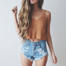 Sexy Women Fashion Summer Cute Knitted Sleeveless Crop Top Casual Blouse Cami