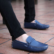 NEW Men's Genuine Leather Casual Slip On Loafer Canvas Moccasins Driving Shoes