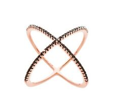 18K ROSE GOLD VERMEIL-Pave 5A Black Cubic Zirconia Open X Knuckle Ring-925/SS