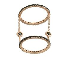 18K ROSE VERMEIL-Pave+Bezel  5A Black Cubic Zirconia Layered Chain Knuckle Ring