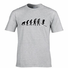 Evolution Of Skiing Snow Skis Cross Country Mountain Snowboard Mens T-Shirt