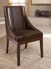 Modern Reddish Brown Textured Faux Leather Seat Dining Room UPH Dining Arm Chair
