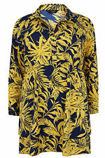 Yoursclothing Plus Size Womens Yellow & Tropical Print Longline Shirt