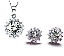18k White Gold GP Austrian Crystal Sunflower Necklace Earrings Wedding Sets s67