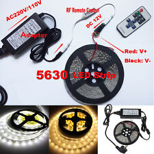 5M 5630 SMD Warm Cool White 300 LED Strip Car Light + Remote Dimmer+12V Power+DC
