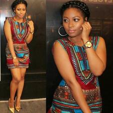 Festive Women Summer Casual Sleeveless Traditional African Print Party Dress HOT