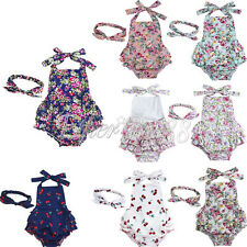 Infant Baby Girl Sleeveless Bodysuit Onesie Jumpsuit Romper Dress + Headband Set